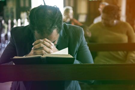 Adult Man Pray Bible Church Faith Religion