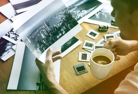 Photo Gradient Style with Photographer Photocamera Film Photo Workspace