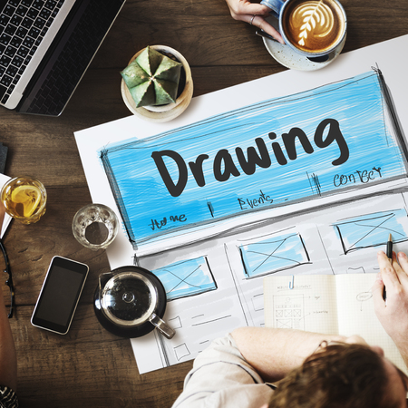 Product Design Drawing Website Graphic Stock Photo