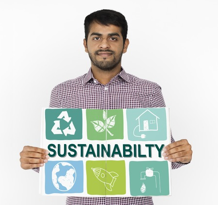 Man showing a placard with sustainability concept