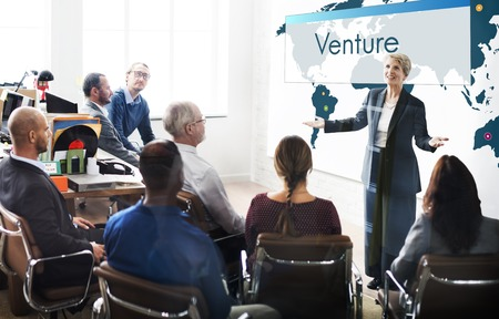 Venture Global Business Corporate Growth Marketing Stock Photo
