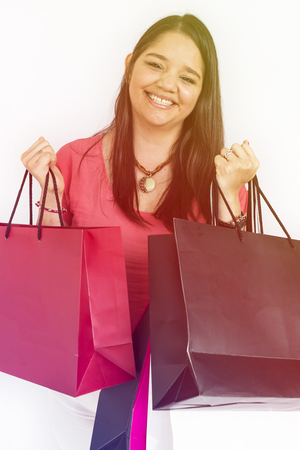 Woman Hands Hold Shopping Bags Studio Portrait