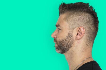 Men Adult Spiky Hair Side Imagens - 76988979