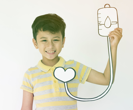 Schoolboy Holding Intravenous Fluid Icon Medical Stock Photo
