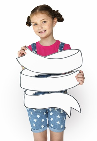 Little Girl Smiling Happiness Holding Banner Copy Space Stock Photo