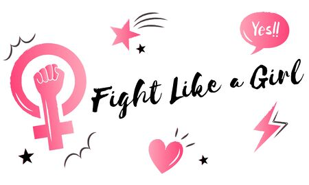 Fight like a girl pink graphic icon