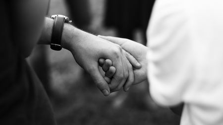 Couple Holding Hands Together Love Smitten Stock Photo