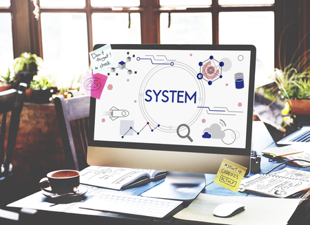 information medium: Computer Network Server System Stock Photo