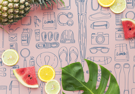 Summer theme with doodles Stock Photo - 113085259