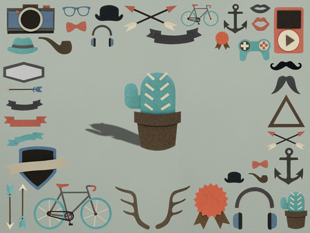interesting music: Variety of hipster hobbies activity icons Stock Photo
