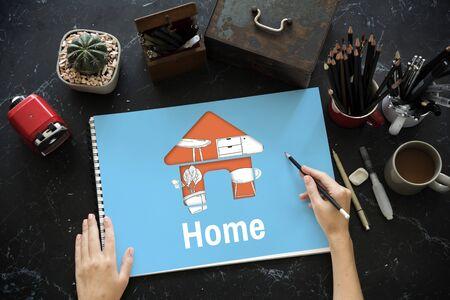 Appartement intérieur de votre espace de rénovation de style de la décoration Banque d'images - 77504028