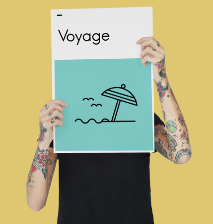 hand holding paper: Summer Holiday Vacation Trip Directions Wanderlust