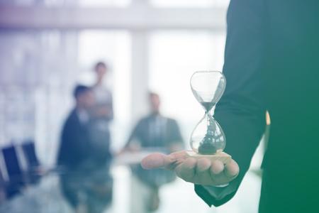 Business Man Hour Glass Time Stockfoto
