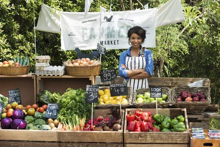 Woman owner fresh gracery organic shop Stock Photo - 77174233
