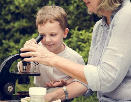 Grandmother Grandson Family Science Microscope