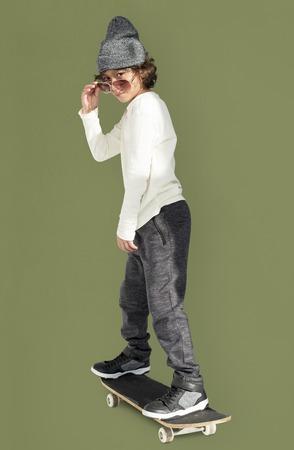 Caucasian Little Boy Adorable Skateboarding