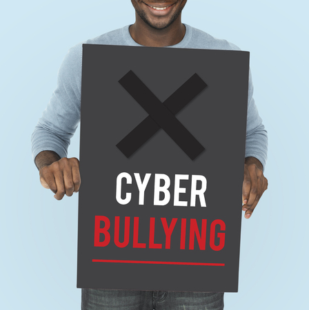 harass: Cyber Bullying Abusement Harassment Trolling Stock Photo