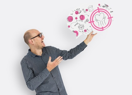 Man holding a speech bubble with donation concept