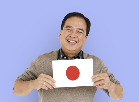 Man Hands Hold Japane Japanese Flag Patriotism Stock Photo