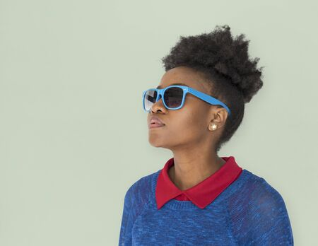 African Descent Afro Woman with Sunglasses