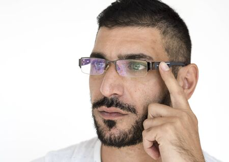 Middle Eastern Man Curious Thinking Studio Portrait