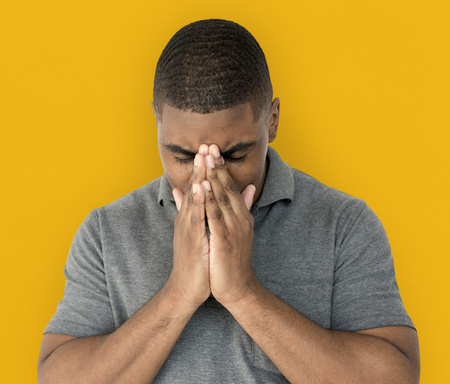 African desent is feeling blue stressed upset Stock Photo - 77198023