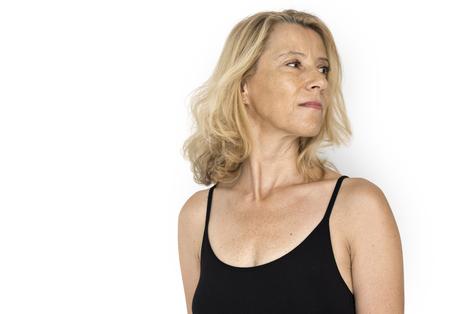 Senior Volwassen Vrouw Lachende Geluk Lingerie Studio Portret