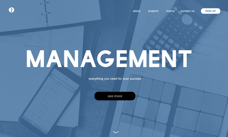 Website with management concept Stock Photo