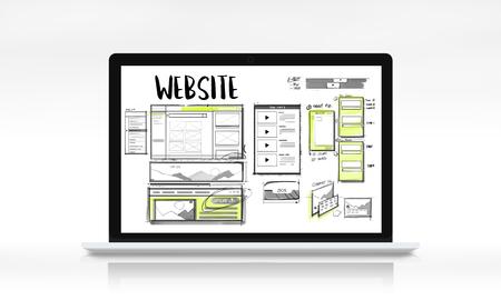 Website development layout sketch drawing Stok Fotoğraf