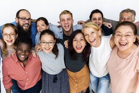 Group of people arm around support together Stock fotó