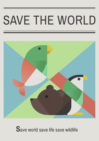 Save endangered animals icon graphic Banco de Imagens - 77250409