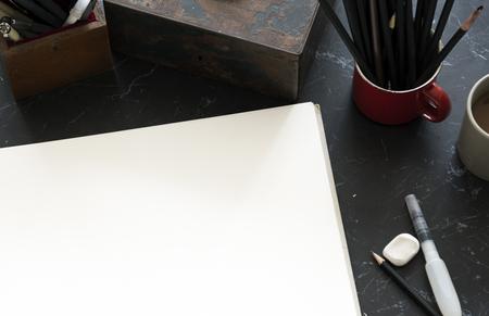 Briefpapier Illustratie Zwarte marmeren tafel Stockfoto