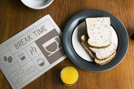 Breakfast with Illustration of coffee shop advertisement on newspaper Banco de Imagens - 77329325