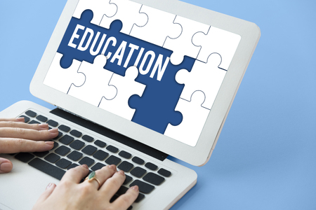 Education Learning Puzzle Pieces Graphic Stok Fotoğraf