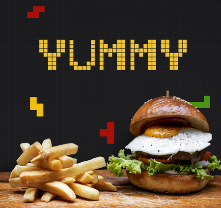 bun: Burger and fries with 8 bit illustration of tasty menu Stock Photo