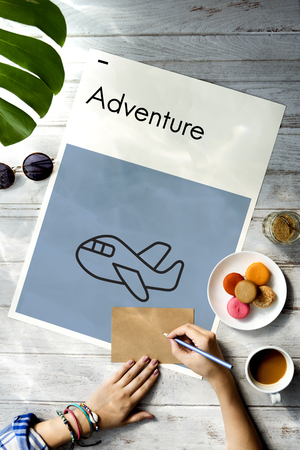 itinerary: Holiday Journey Flight Travel Icon Stock Photo