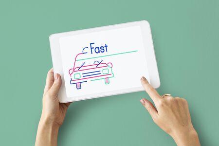 using tablet: Illustration of automotive car rental transportation on digital tablet