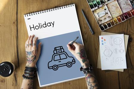 itinerary: Adventure Bon Voyage Destination Icon Stock Photo