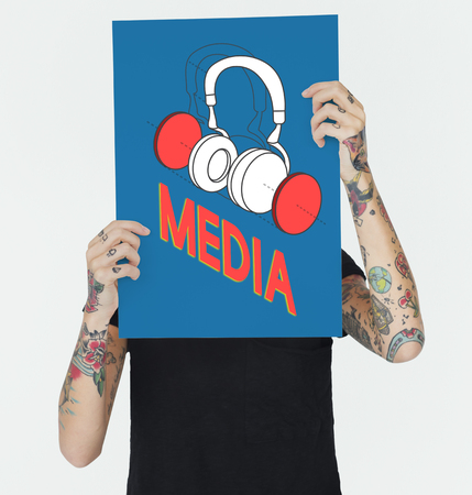 hand holding paper: Music entertainment headphones icon graphic