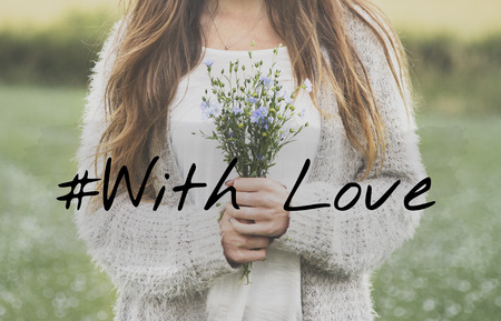 With Love Flower Bloom Blossom Phrase Words Stock Photo