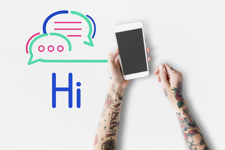 Woman with tattoos on hands and hi message concept