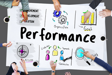 Performance word on business plan sketch Stock Photo