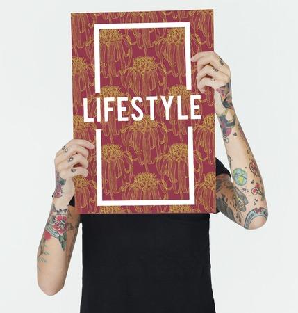 Inspireer levensstijl vertrouwen rode bloemen Stockfoto