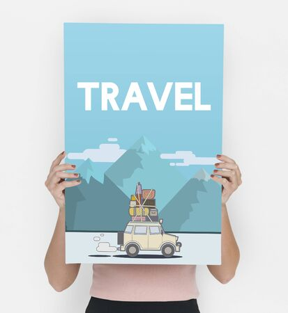 itinerary: Woman holding illustration of discovery journey road trip traveling banner