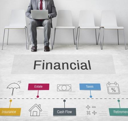 Economy Trade Financial Accounting Icons Stock Photo