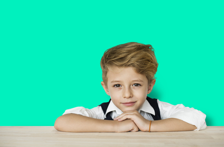 Little Boy Smart Adorable Focused