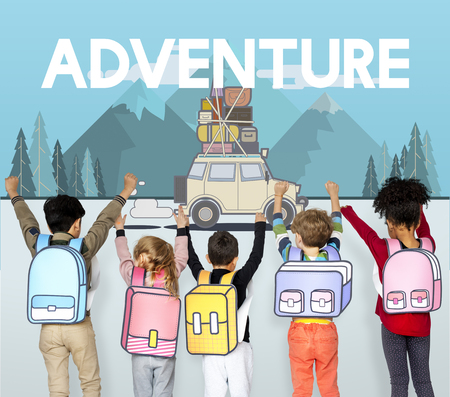 Children with illustration of discovery journey road trip traveling Stock Photo