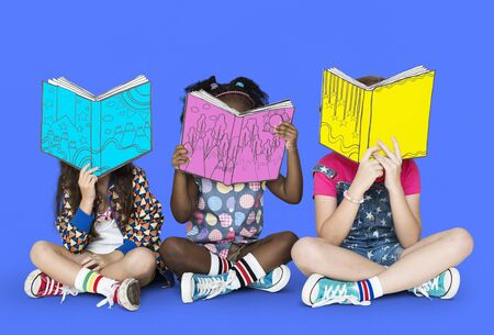 Children Girlfriends Reading Book Education Togetherness Studio Portrait