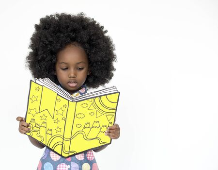 Little Girl Reading Book Education Togetherness Studio Portrait