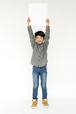 Portrait of kid studio shoot on white background Stock Photo